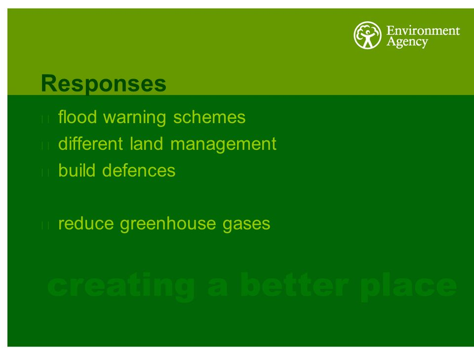 Responses flood warning schemes different land management build defences reduce greenhouse gases