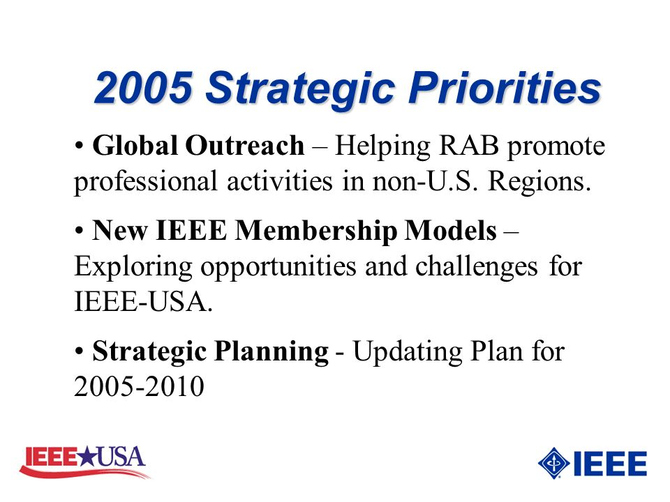2005 Strategic Priorities Global Outreach – Helping RAB promote professional activities in non-U.S.