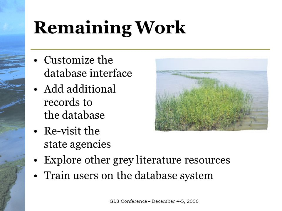 GL8 Conference – December 4-5, 2006 Remaining Work Customize the database interface Add additional records to the database Re-visit the state agencies Explore other grey literature resources Train users on the database system