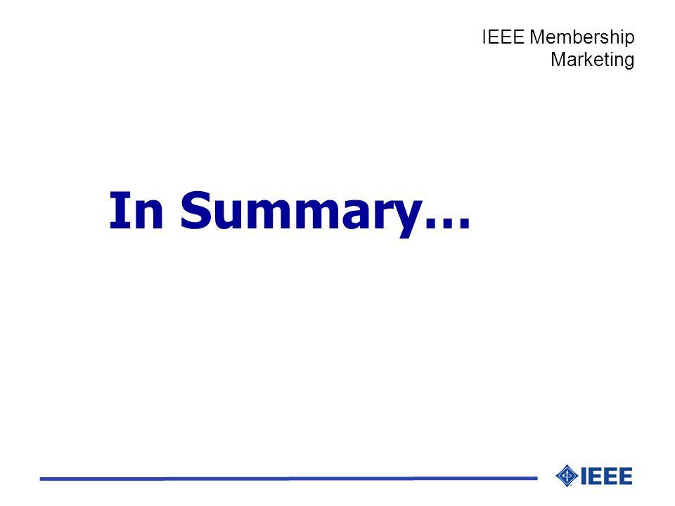 In Summary… IEEE Membership Marketing