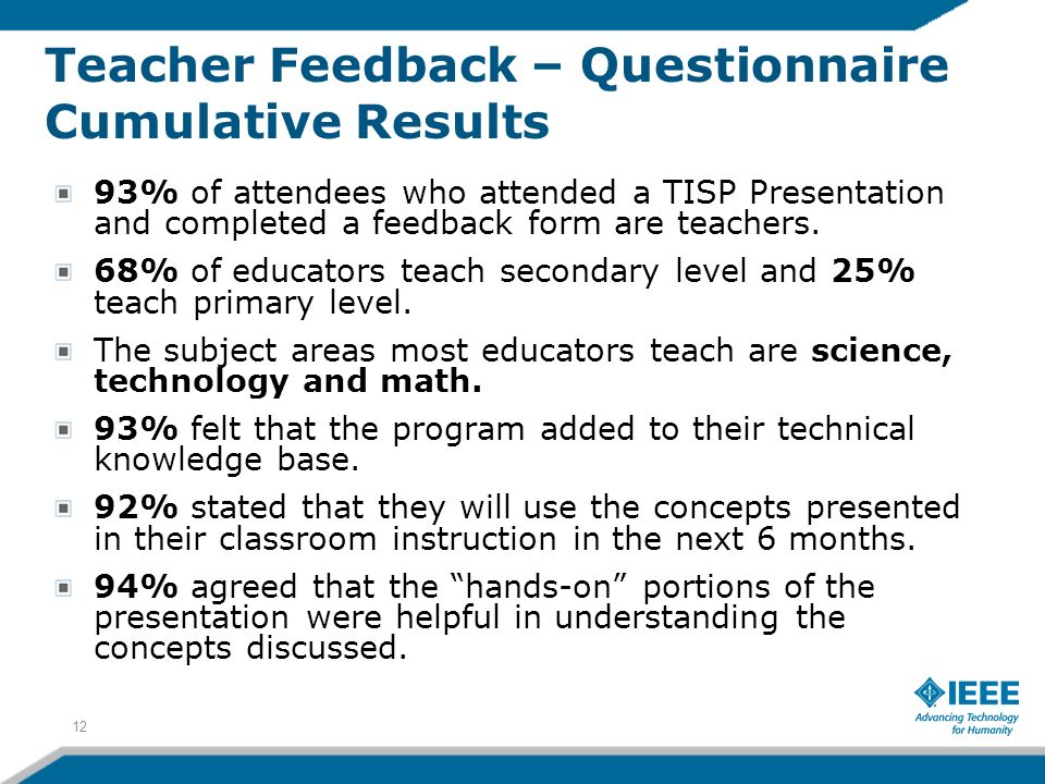 Teacher Feedback – Questionnaire Cumulative Results 12 93% of attendees who attended a TISP Presentation and completed a feedback form are teachers.