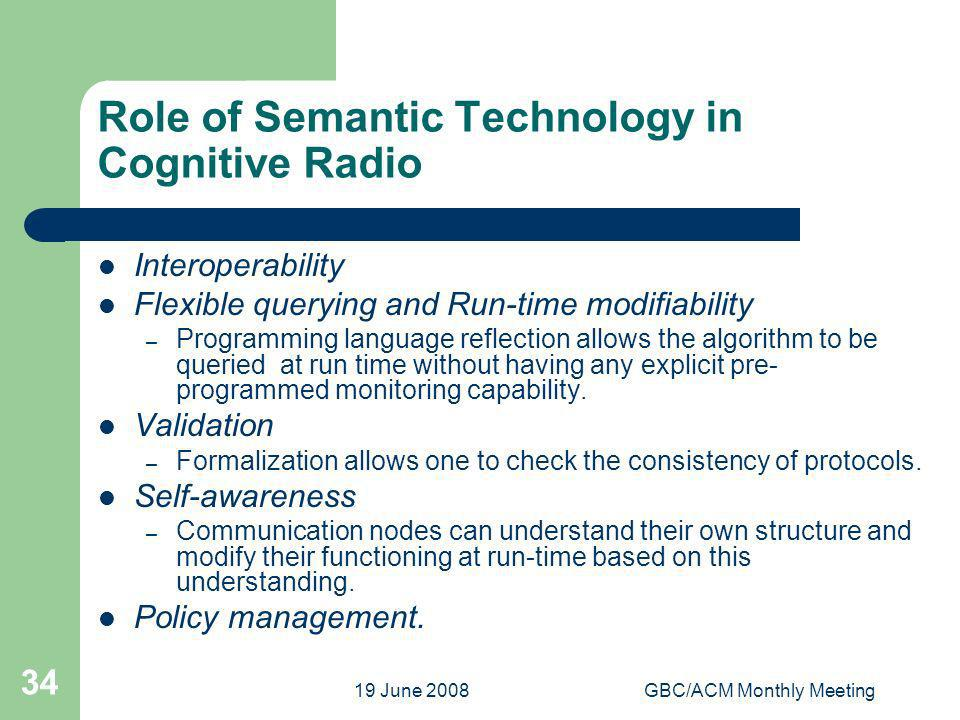 19 June 2008GBC/ACM Monthly Meeting 34 Role of Semantic Technology in Cognitive Radio Interoperability Flexible querying and Run-time modifiability –
