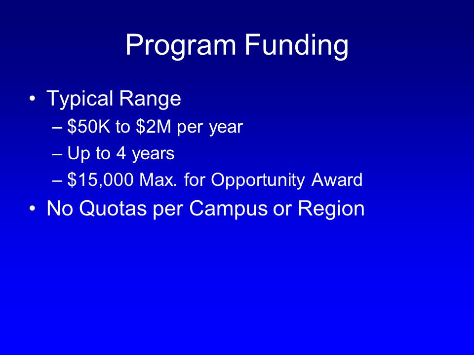 Program Funding Typical Range –$50K to $2M per year –Up to 4 years –$15,000 Max.