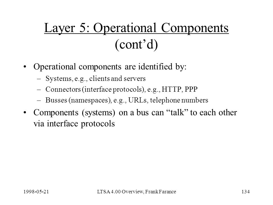 LTSA 4.00 Overview, Frank Farance134 Layer 5: Operational Components (contd) Operational components are identified by: –Systems, e.g., clients and servers –Connectors (interface protocols), e.g., HTTP, PPP –Busses (namespaces), e.g., URLs, telephone numbers Components (systems) on a bus can talk to each other via interface protocols