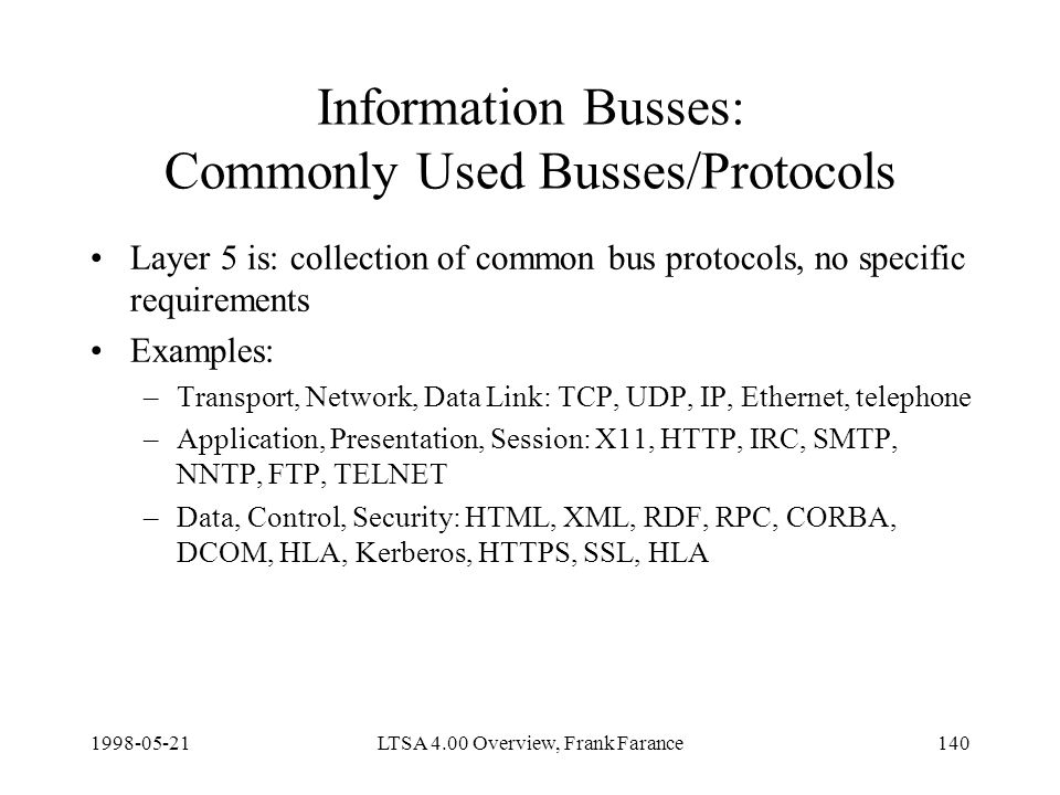 LTSA 4.00 Overview, Frank Farance140 Information Busses: Commonly Used Busses/Protocols Layer 5 is: collection of common bus protocols, no specific requirements Examples: –Transport, Network, Data Link: TCP, UDP, IP, Ethernet, telephone –Application, Presentation, Session: X11, HTTP, IRC, SMTP, NNTP, FTP, TELNET –Data, Control, Security: HTML, XML, RDF, RPC, CORBA, DCOM, HLA, Kerberos, HTTPS, SSL, HLA