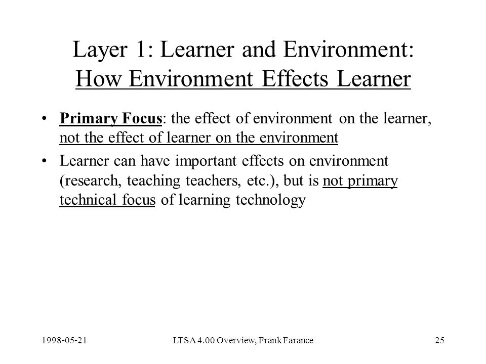 LTSA 4.00 Overview, Frank Farance25 Layer 1: Learner and Environment: How Environment Effects Learner Primary Focus: the effect of environment on the learner, not the effect of learner on the environment Learner can have important effects on environment (research, teaching teachers, etc.), but is not primary technical focus of learning technology