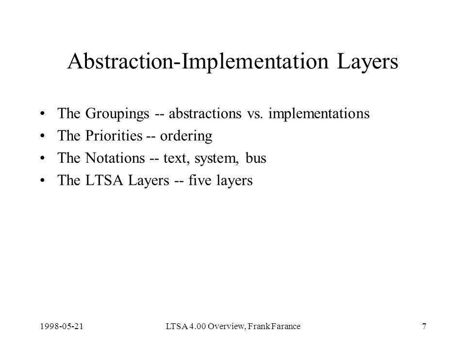 LTSA 4.00 Overview, Frank Farance7 Abstraction-Implementation Layers The Groupings -- abstractions vs.