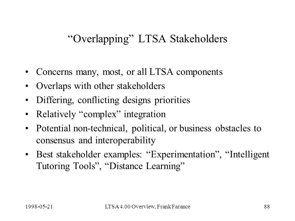 LTSA 4.00 Overview, Frank Farance88 Overlapping LTSA Stakeholders Concerns many, most, or all LTSA components Overlaps with other stakeholders Differing, conflicting designs priorities Relatively complex integration Potential non-technical, political, or business obstacles to consensus and interoperability Best stakeholder examples: Experimentation, Intelligent Tutoring Tools, Distance Learning