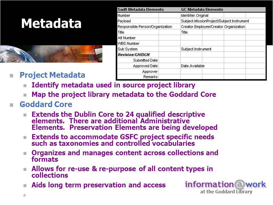 at the Goddard Library 6 Metadata Project Metadata Identify metadata used in source project library Map the project library metadata to the Goddard Core Goddard Core Extends the Dublin Core to 24 qualified descriptive elements.