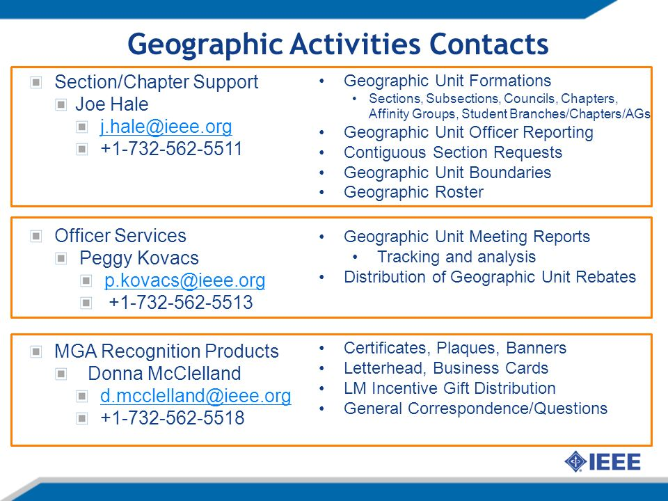 Geographic Activities Contacts Section/Chapter Support Joe Hale j.hale@ieee.org +1-732-562-5511 Officer Services Peggy Kovacs p.kovacs@ieee.org +1-732-562-5513 MGA Recognition Products Donna McClelland d.mcclelland@ieee.org +1-732-562-5518 Geographic Unit Formations Sections, Subsections, Councils, Chapters, Affinity Groups, Student Branches/Chapters/AGs Geographic Unit Officer Reporting Contiguous Section Requests Geographic Unit Boundaries Geographic Roster Geographic Unit Meeting Reports Tracking and analysis Distribution of Geographic Unit Rebates Certificates, Plaques, Banners Letterhead, Business Cards LM Incentive Gift Distribution General Correspondence/Questions