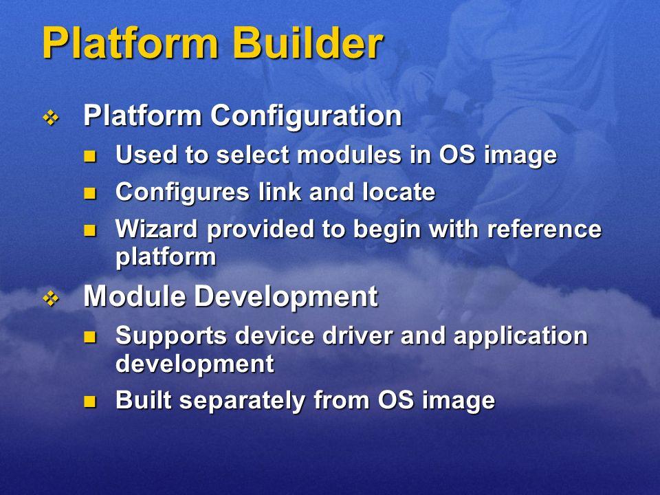 Platform Builder Platform Configuration Platform Configuration Used to select modules in OS image Used to select modules in OS image Configures link a