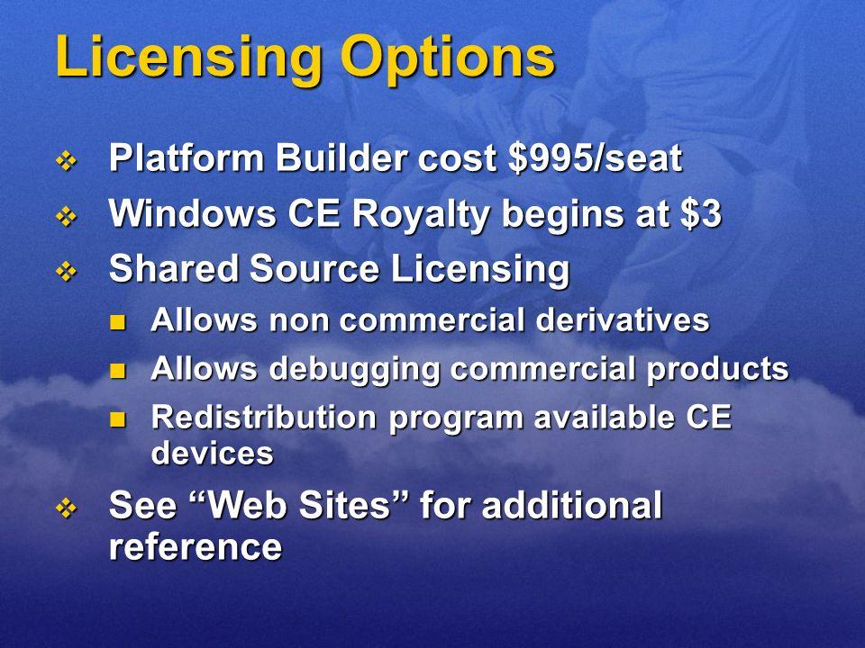 Licensing Options Platform Builder cost $995/seat Platform Builder cost $995/seat Windows CE Royalty begins at $3 Windows CE Royalty begins at $3 Shar