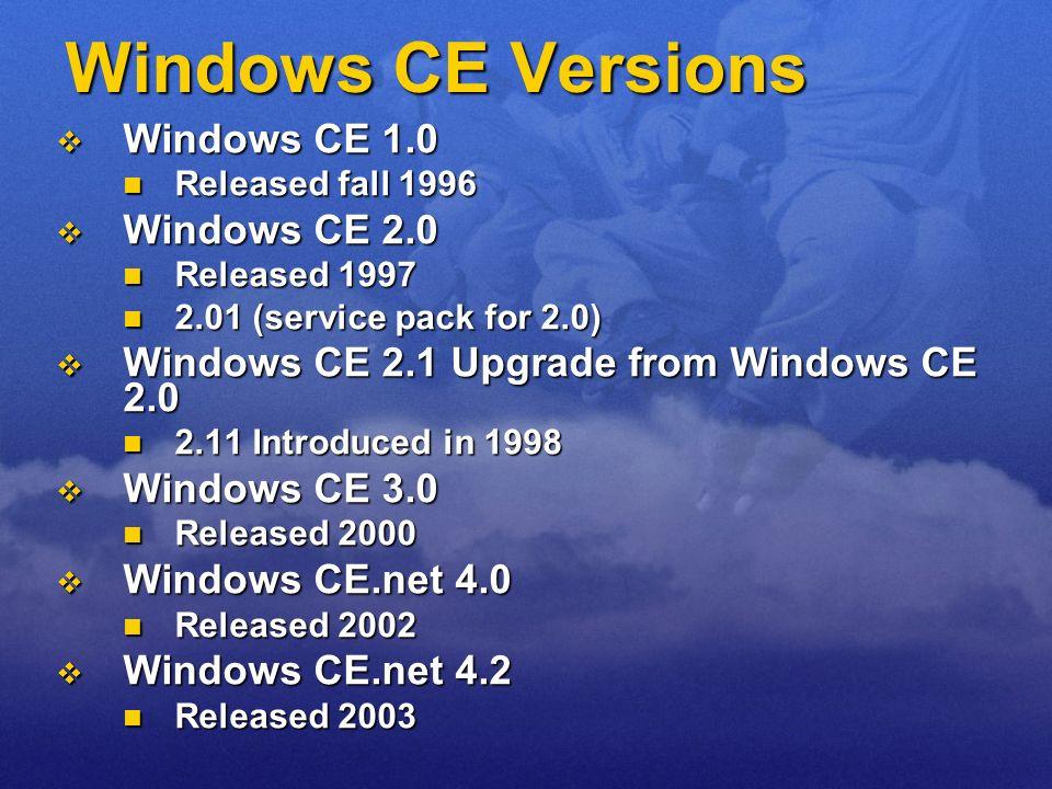 Windows CE Versions Windows CE 1.0 Windows CE 1.0 Released fall 1996 Released fall 1996 Windows CE 2.0 Windows CE 2.0 Released 1997 Released 1997 2.01