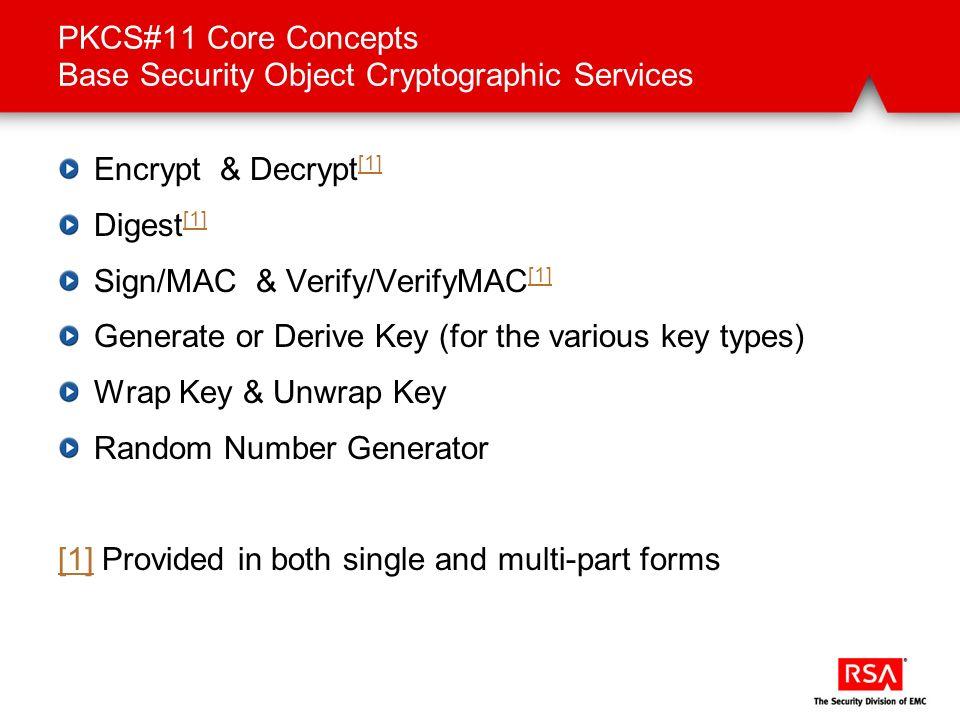 PKCS#11 Core Concepts Base Security Object Cryptographic Services Encrypt & Decrypt [1] [1] Digest [1] [1] Sign/MAC & Verify/VerifyMAC [1] [1] Generat