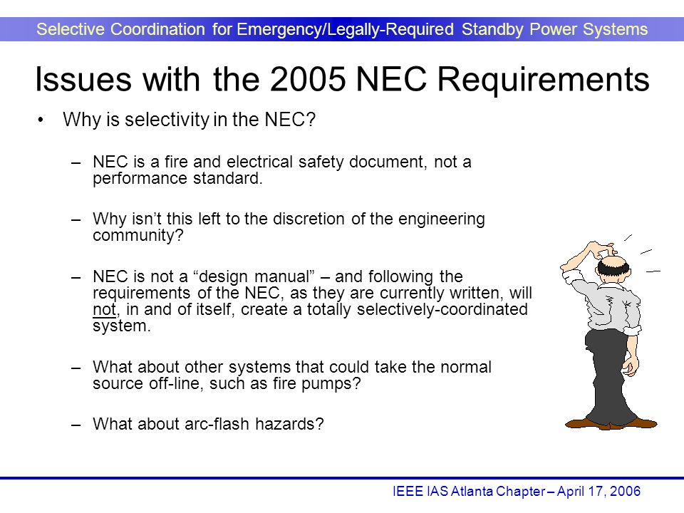 IEEE IAS Atlanta Chapter – April 17, 2006 Selective Coordination for Emergency/Legally-Required Standby Power Systems Why is selectivity in the NEC? –