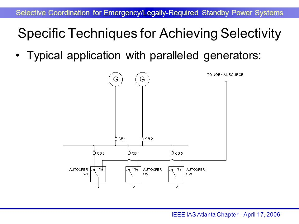 IEEE IAS Atlanta Chapter – April 17, 2006 Selective Coordination for Emergency/Legally-Required Standby Power Systems Typical application with paralle
