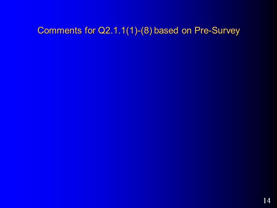 14 Comments for Q2.1.1(1)-(8) based on Pre-Survey