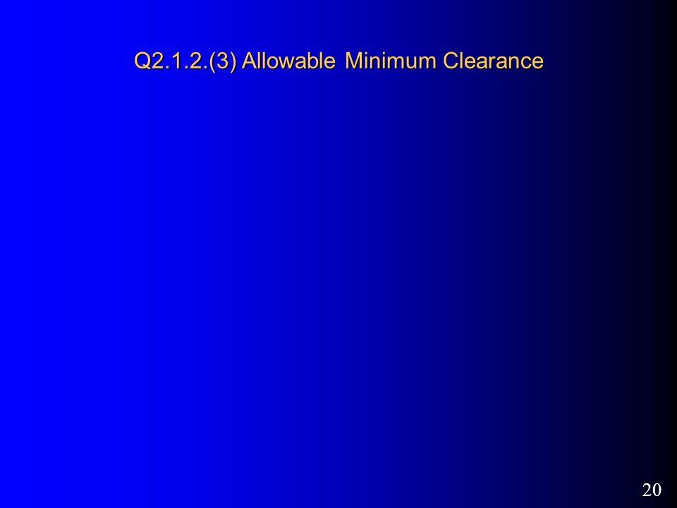 20 Q2.1.2.(3) Allowable Minimum Clearance