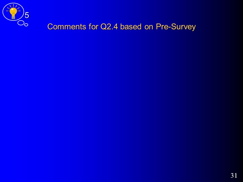 31 Comments for Q2.4 based on Pre-Survey 5