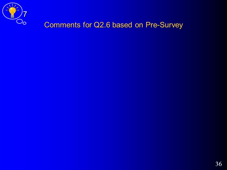 36 Comments for Q2.6 based on Pre-Survey 7