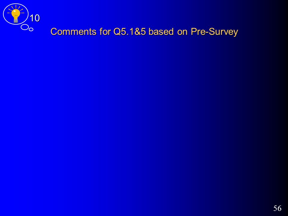 56 Comments for Q5.1&5 based on Pre-Survey 10