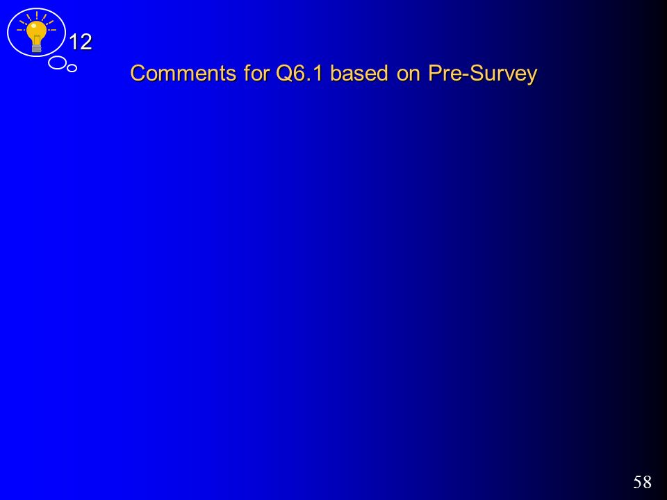 58 Comments for Q6.1 based on Pre-Survey 12