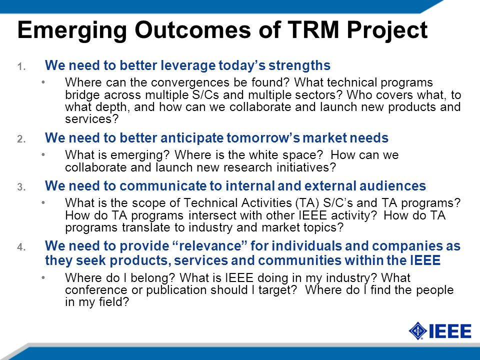 Emerging Outcomes of TRM Project 1.