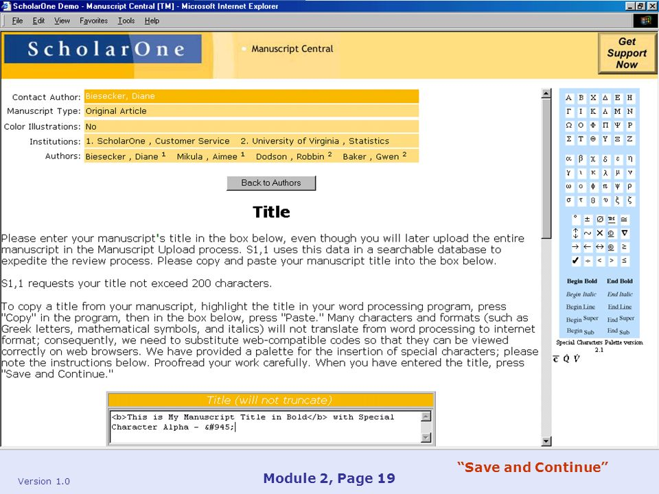 Version 1.0 Module 2, Page 19 Save and Continue