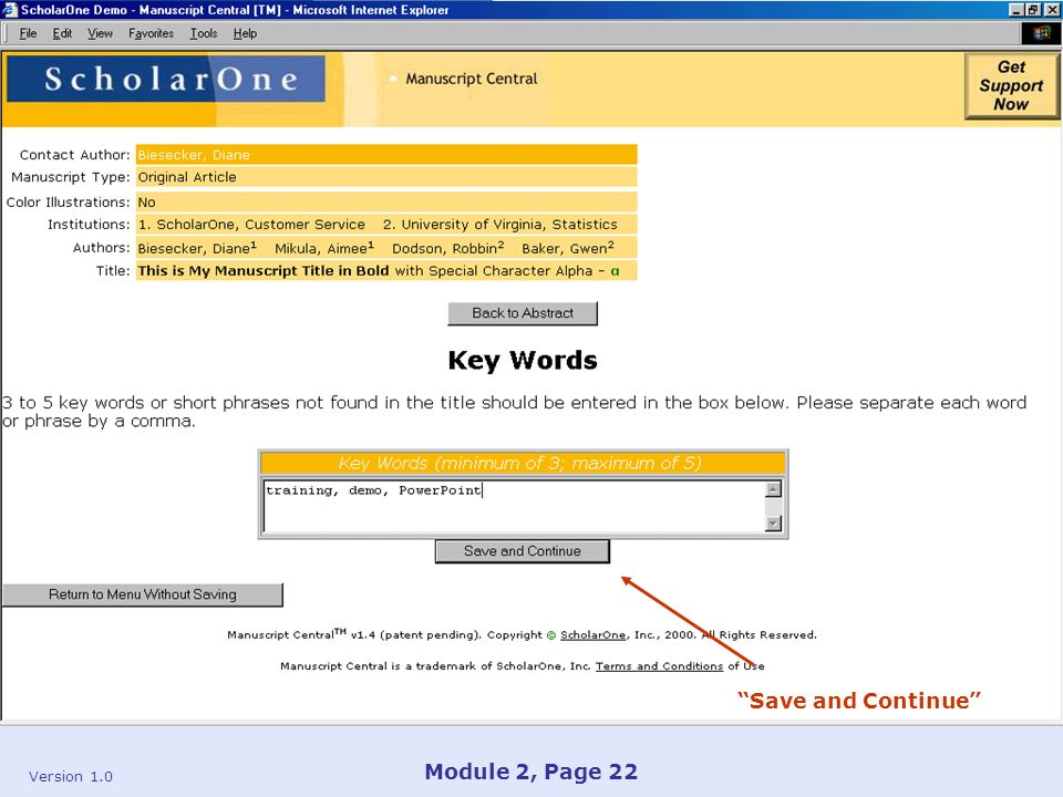 Version 1.0 Module 2, Page 22 Save and Continue