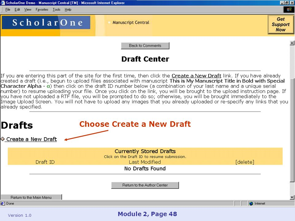 Version 1.0 Module 2, Page 48 Choose Create a New Draft