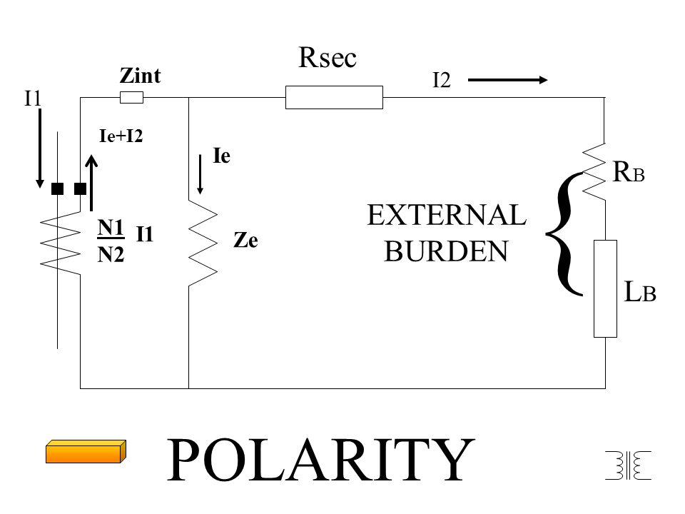 N1 N2 I1 Ze Ie I2 Rsec RBRB LBLB EXTERNAL BURDEN { Ie+I2 Zint POLARITY I1