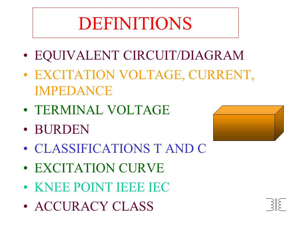 DEFINITIONS EQUIVALENT CIRCUIT/DIAGRAM EXCITATION VOLTAGE, CURRENT, IMPEDANCE TERMINAL VOLTAGE BURDEN CLASSIFICATIONS T AND C EXCITATION CURVE KNEE PO