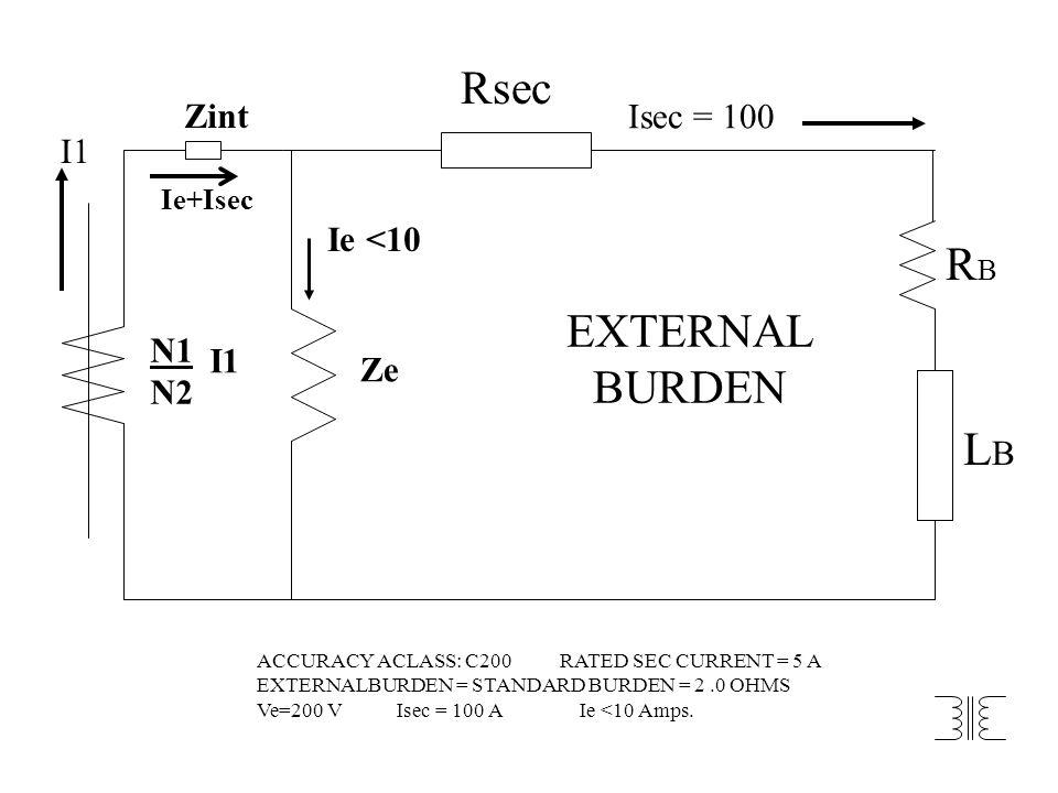 N1 N2 I1 Ze Ie <10 Isec = 100 Rsec RBRB LBLB EXTERNAL BURDEN Ie+Isec Zint ACCURACY ACLASS: C200 RATED SEC CURRENT = 5 A EXTERNALBURDEN = STANDARD BURD