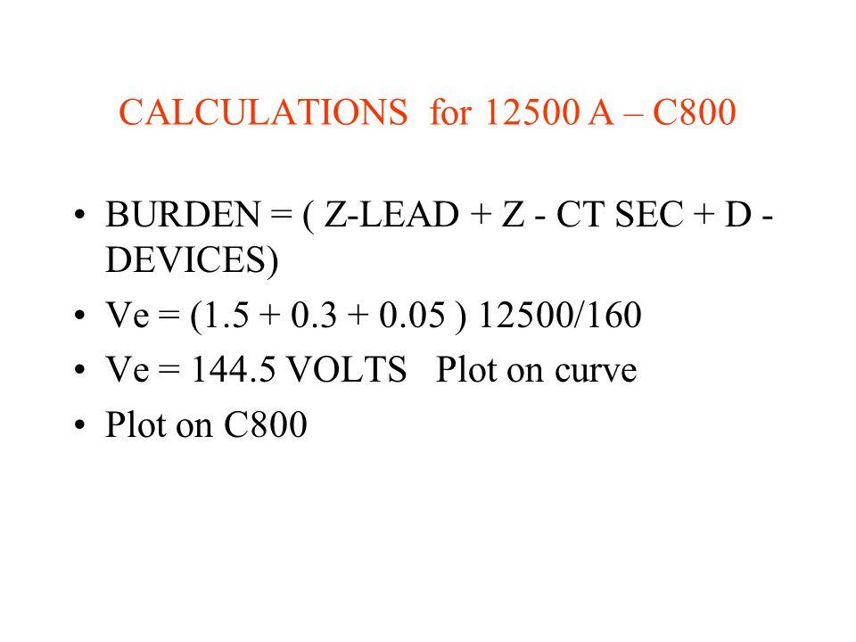 CALCULATIONS for 12500 A – C800 BURDEN = ( Z-LEAD + Z - CT SEC + D - DEVICES) Ve = (1.5 + 0.3 + 0.05 ) 12500/160 Ve = 144.5 VOLTS Plot on curve Plot o
