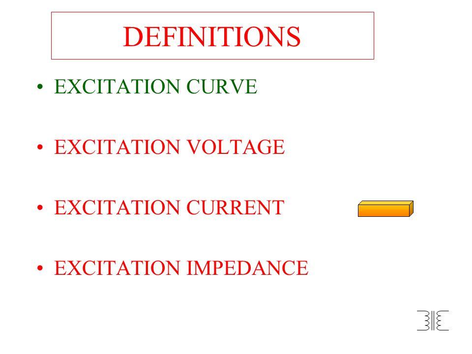DEFINITIONS EXCITATION CURVE EXCITATION VOLTAGE EXCITATION CURRENT EXCITATION IMPEDANCE