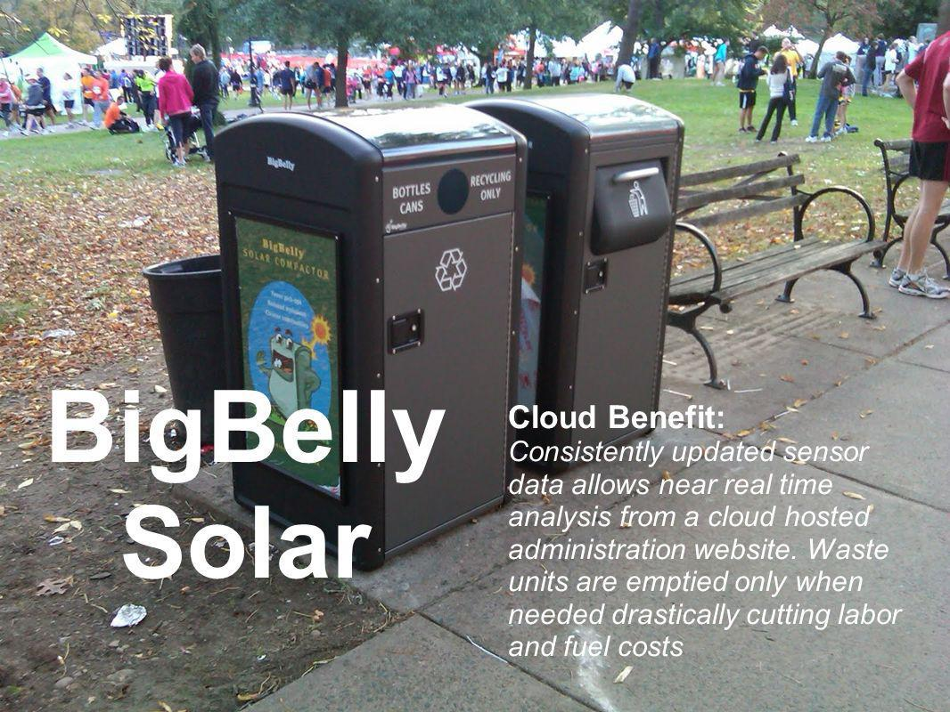 BigBelly Solar Cloud Benefit: Consistently updated sensor data allows near real time analysis from a cloud hosted administration website.