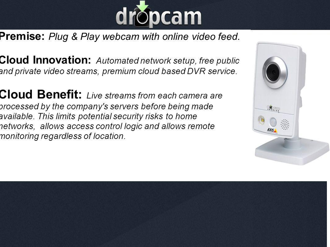 DropCam Premise: Plug & Play webcam with online video feed.