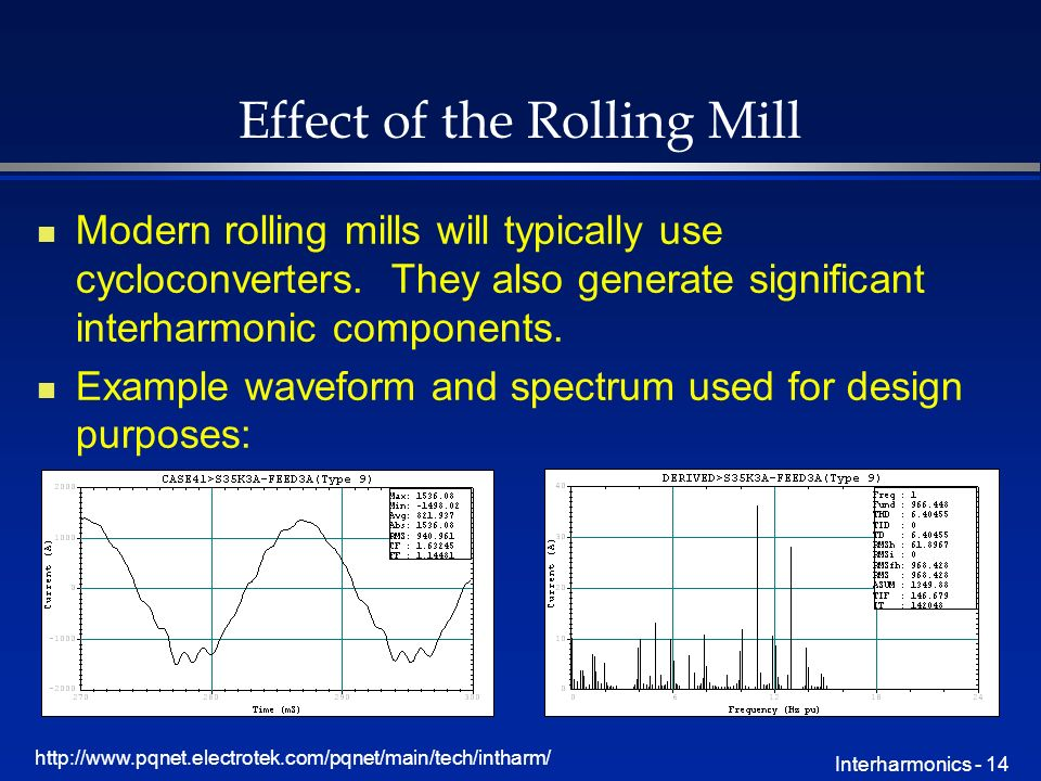 http://www.pqnet.electrotek.com/pqnet/main/tech/intharm/ Interharmonics - 14 Effect of the Rolling Mill n Modern rolling mills will typically use cycloconverters.