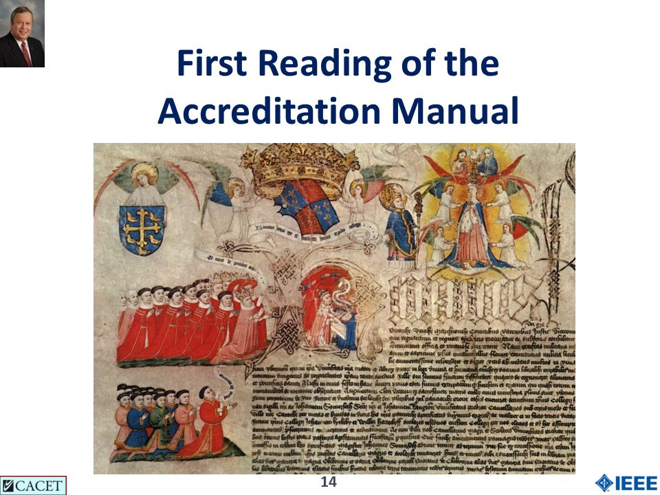 14 First Reading of the Accreditation Manual