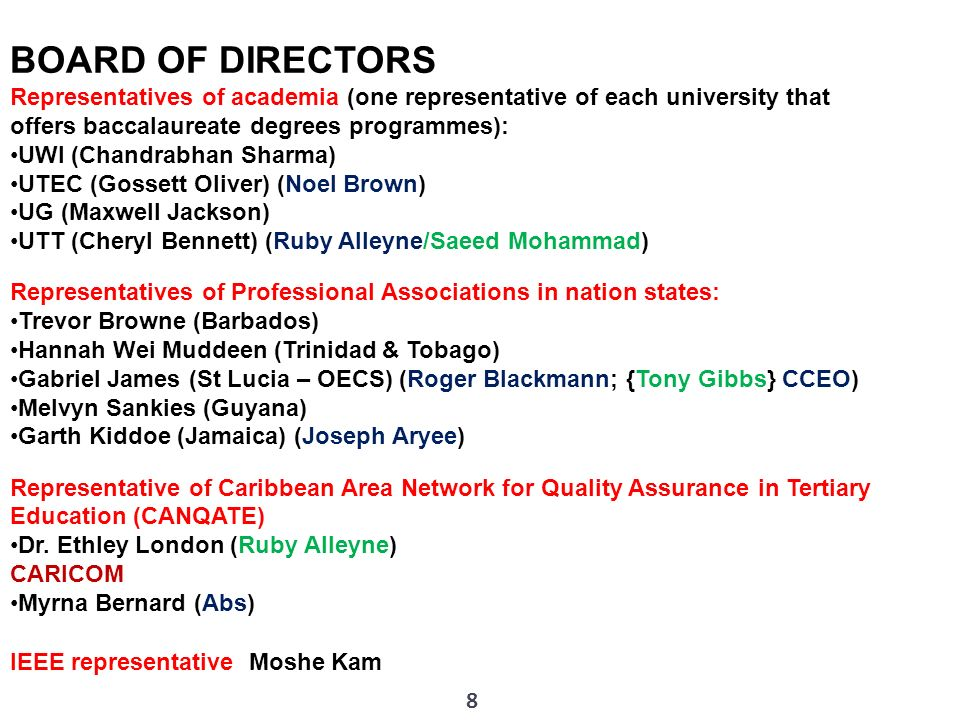 8 BOARD OF DIRECTORS Representatives of academia (one representative of each university that offers baccalaureate degrees programmes): UWI (Chandrabha