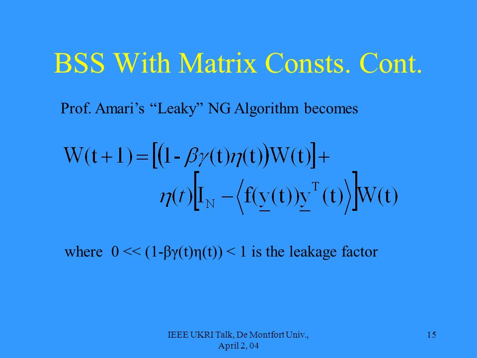 IEEE UKRI Talk, De Montfort Univ., April 2, 04 15 Prof. Amaris Leaky NG Algorithm becomes where 0 << (1-βγ(t)η(t)) < 1 is the leakage factor BSS With