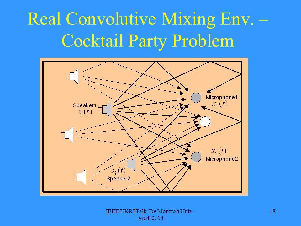 IEEE UKRI Talk, De Montfort Univ., April 2, 04 18 Real Convolutive Mixing Env. – Cocktail Party Problem