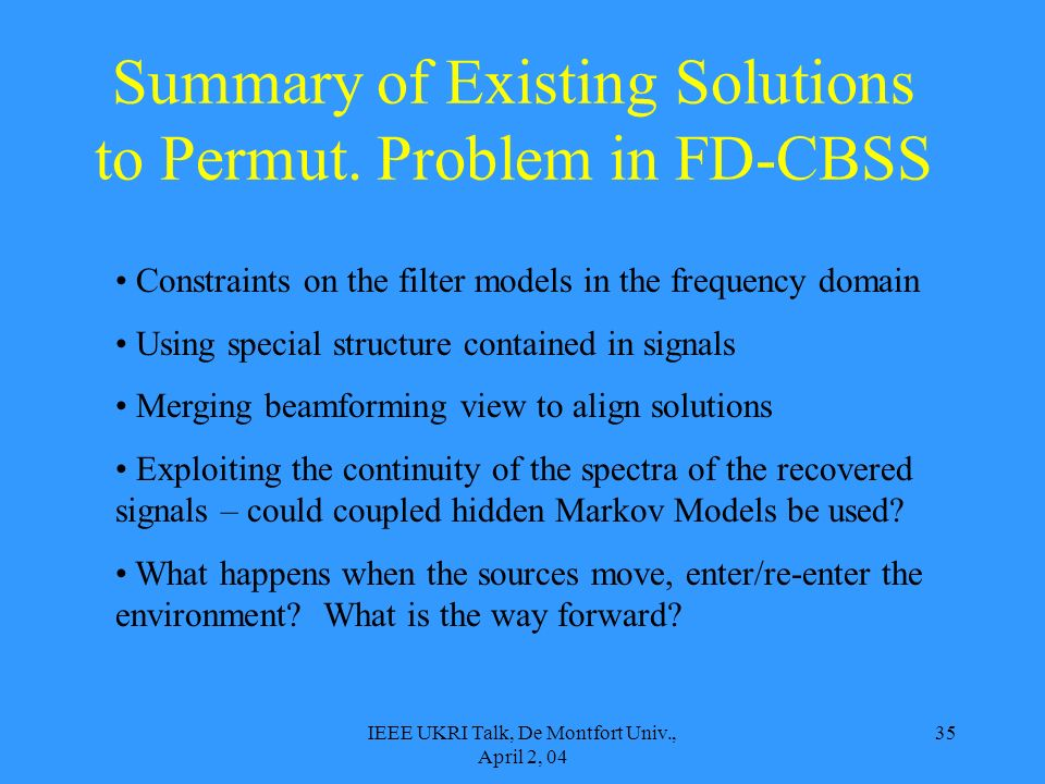 IEEE UKRI Talk, De Montfort Univ., April 2, 04 35 Summary of Existing Solutions to Permut. Problem in FD-CBSS Constraints on the filter models in the