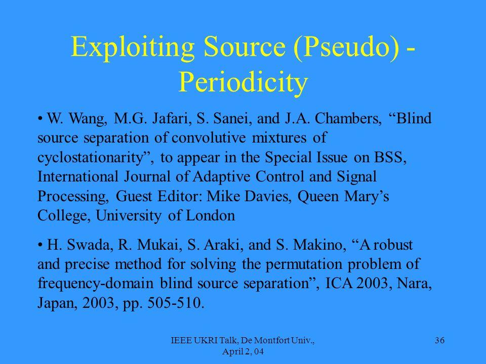 IEEE UKRI Talk, De Montfort Univ., April 2, 04 36 Exploiting Source (Pseudo) - Periodicity W. Wang, M.G. Jafari, S. Sanei, and J.A. Chambers, Blind so