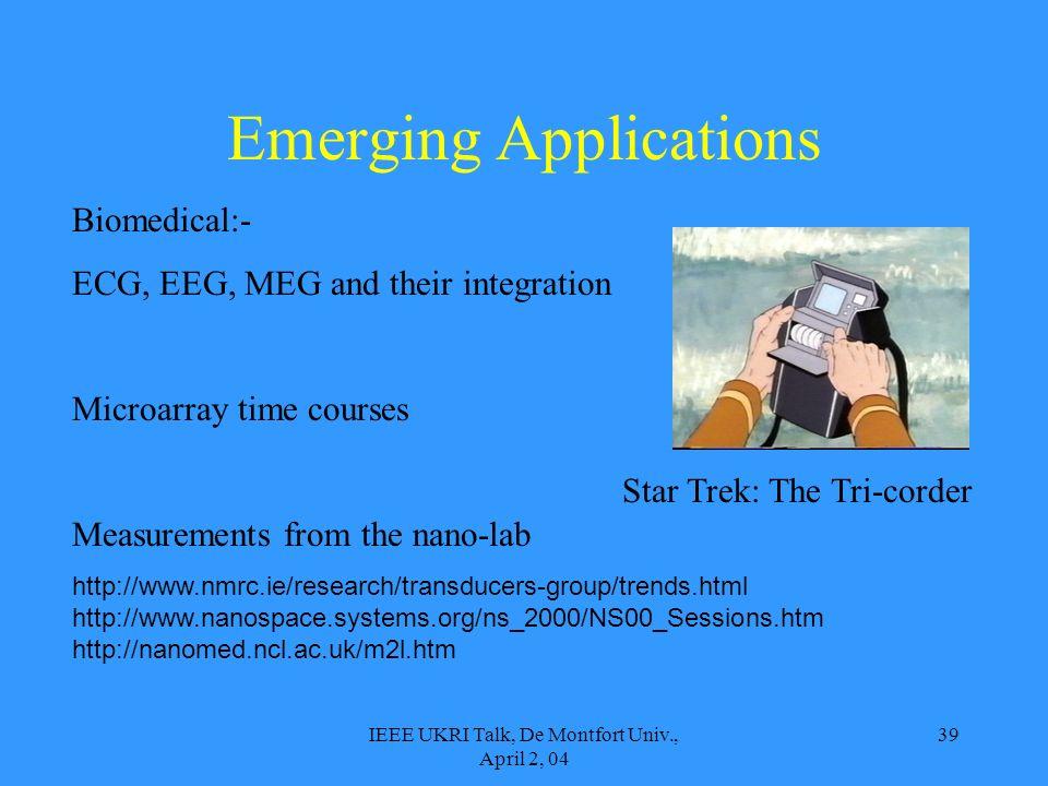 IEEE UKRI Talk, De Montfort Univ., April 2, 04 39 Emerging Applications Biomedical:- ECG, EEG, MEG and their integration Microarray time courses Measu