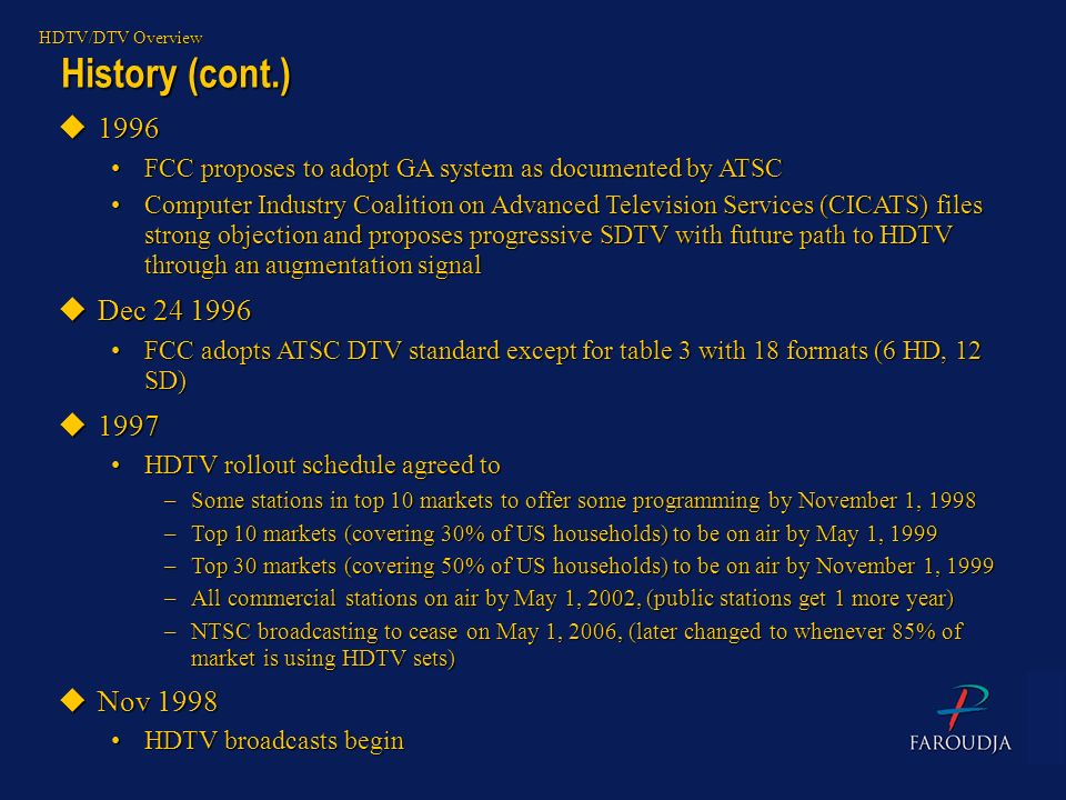 History (cont.) HDTV/DTV Overview u1996 FCC proposes to adopt GA system as documented by ATSCFCC proposes to adopt GA system as documented by ATSC Com