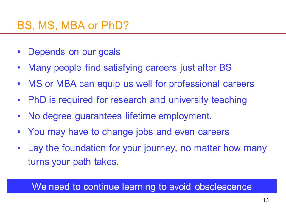 13 BS, MS, MBA or PhD? Depends on our goals Many people find satisfying careers just after BS MS or MBA can equip us well for professional careers PhD