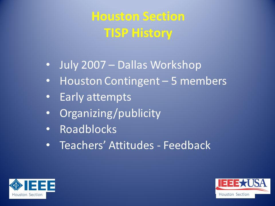 Houston Section TISP History July 2007 – Dallas Workshop Houston Contingent – 5 members Early attempts Organizing/publicity Roadblocks Teachers Attitu