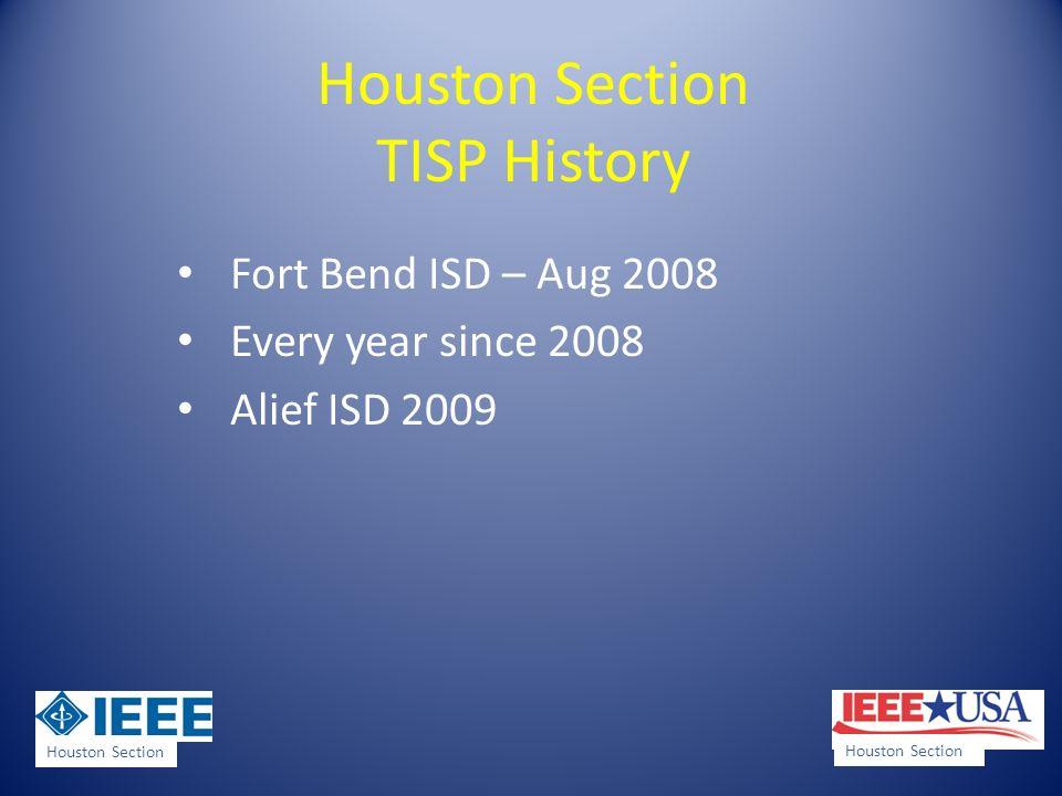 Houston Section TISP History Houston ISD 2010 Pearland ISD 2012 Houston Section