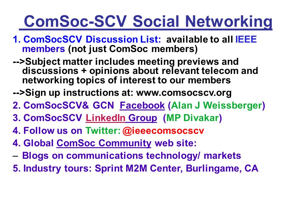 ComSoc-SCV Social Networking 1.